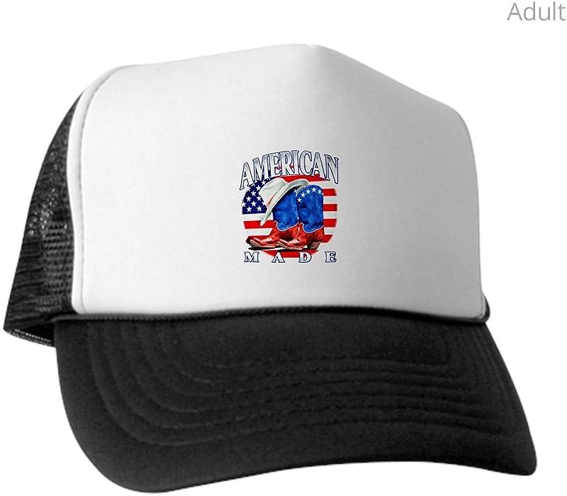 2ff73724 Royal Lion Trucker Hat (Baseball Cap) US American Flag Country Cowboy Boots  - Black
