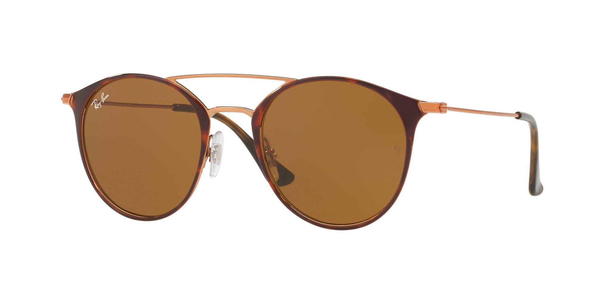 Ray-Ban Steel Unisex Round Sunglasses, Copper on Top Havana, 49 mm