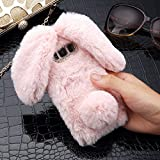 Plush Cover for Samsung Galaxy S7 Case LAPOPNUT Cute Bunny Ears Case Luxury Winter Soft Warm Cover Fluffy Furry Rabbit Shockproof Back Bumper with Chic Bling Crystal Diamond-Pink