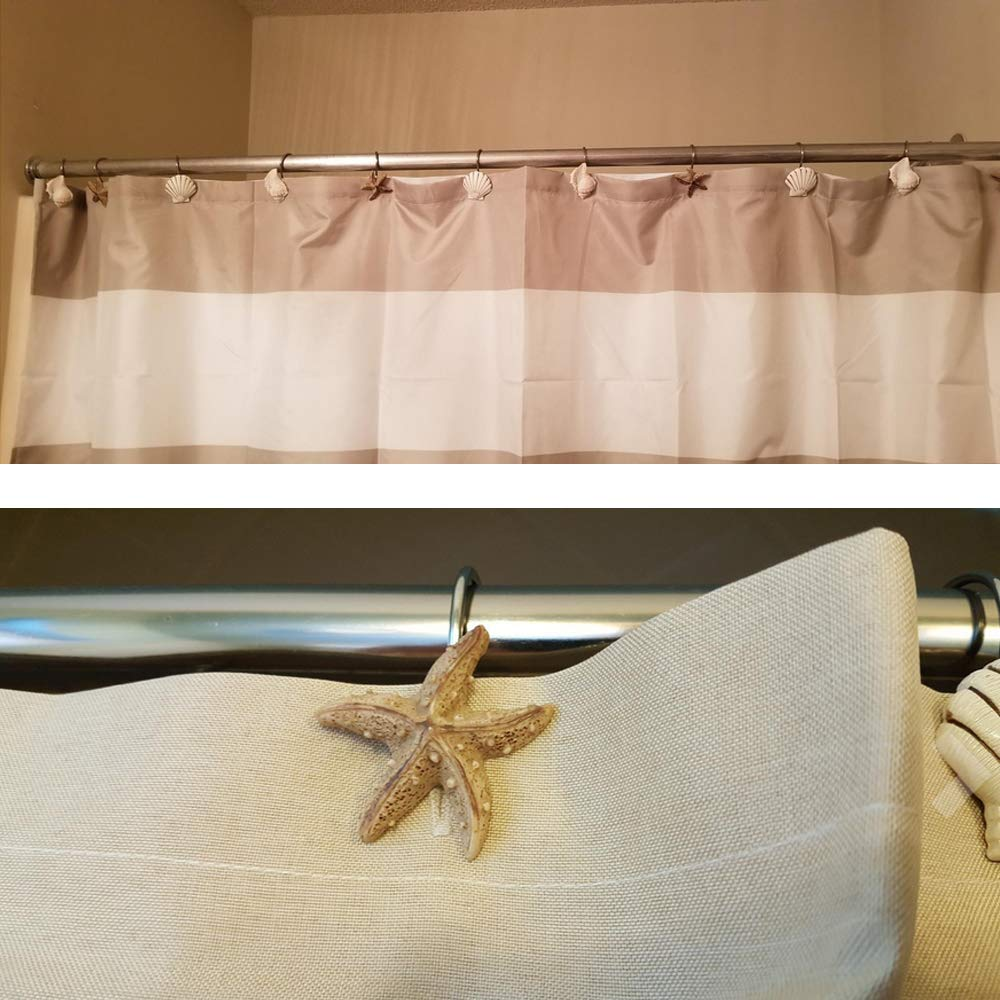 WADEO Shower Curtain Hooks For Glider Rail Track Metal Shower Curtain Rings Stainless Steel For Bathroom With Decorative Blue Seashell 12Pcs
