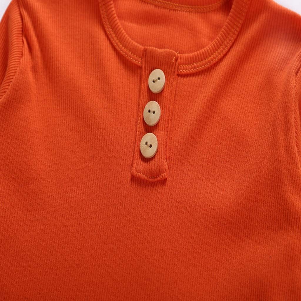Arancione Top 140 JOYKK Pigiama per Pigiami da Notte a Manica Lunga Set di Bottoni Color Caramella