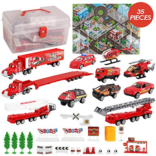 deAO Fire Rescue 35 Piece Emergency Service Alloy Vehicle Fire Fighter Play Set with Storage Box, Map, Fire Truck…