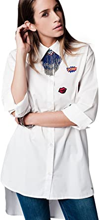 Q2 Mujer Camisa extralarga con Parches Blanca - L: Amazon.es ...