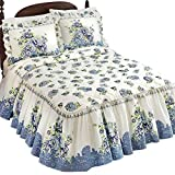 Nicole Blue Floral Quilt-top Bedspread, Blue, King