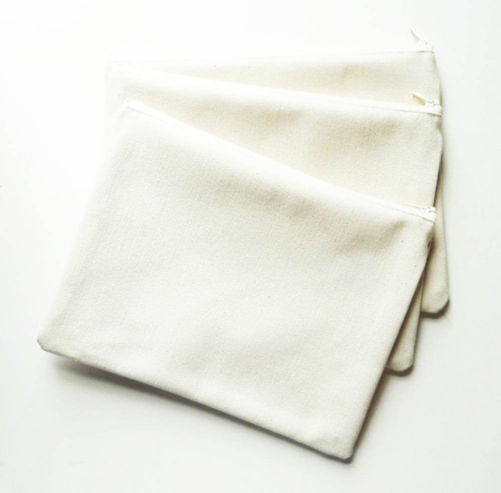 Blank Cotton Canvas Zipper Pouches Bulk 3 Pack Made in USA for Decorating Crafts Embroidery Stamping Embellishment