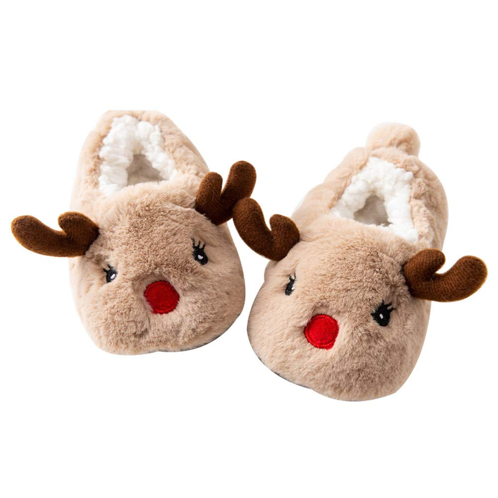 Christmas Baby Boy Girl Milu Deer Cotton Shoes Cute Toddler Fluffy/ WarmPrewalker Anti-Slip Home Shoes 1-5 Years