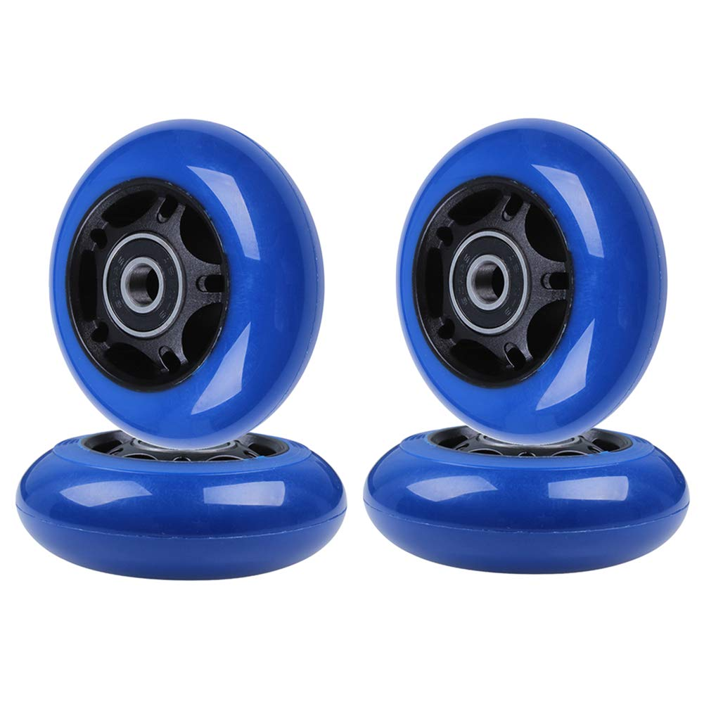 AOWISH Inline Skate Wheels 85A [4-Pack] Beginner Roller Blades Replacement Wheel with Pre-Installed Bearings ABEC-9 [64mm 70mm 72mm 76mm 80mm AVL] (70mm. Black Hub Blue Wheel) by AOWISH