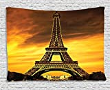 Ambesonne Eiffel Tower Decor Tapestry Wall Hanging, Paris Love City Monument in Sunrise pPcture, Bedroom Living Room Dorm Decor, 60 W X 40 L Inches