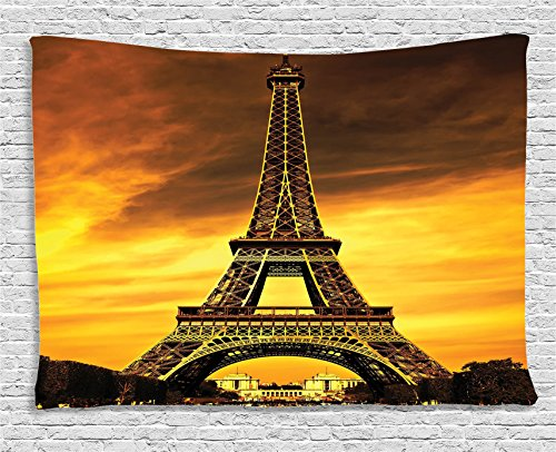 Eiffel Tower Decor Tapestry Wall Hanging by Ambesonne, Paris Love City Monument in Sunrise pPcture, Bedroom Living Room Dorm Decor, 60 W X 40 L (Scene Room Ideas)