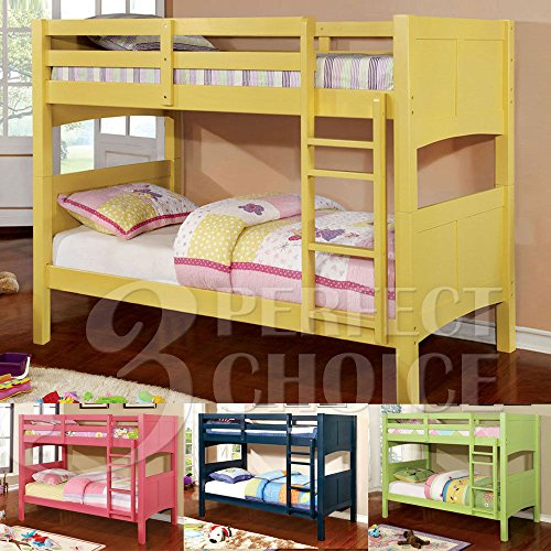 1PerfectChoice Prismo Kids Youth Convertible Twin over Twin Bunk Bed Solid Wood Colors Pink Option