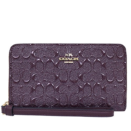 Coach Signature Debossed Patent Phone Wallet F57469 - Oxblood by Coach