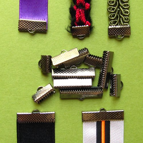 Assorted Sizes of Ribbon Clamp End Crimps - Gunmetal
