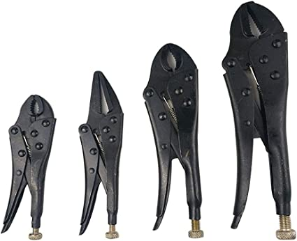 4Pcs Locking Pliers Set Plain Grip Vise Grip Heat Treated Long Nose Pliers USA