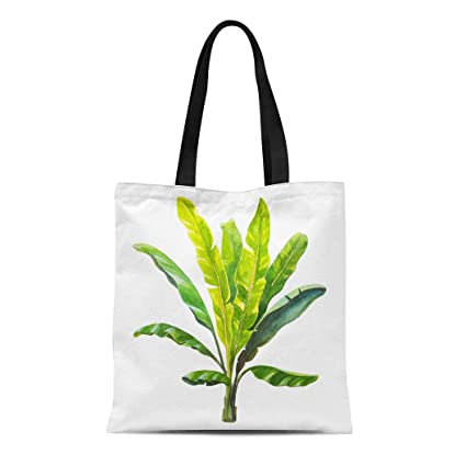 56d7f55c2cbe Semtomn Canvas Tote Bag Shoulder Bags Leaf Green Banana Tropical Leaves  Watercolor White Tree Vintage Women's Handle Shoulder Tote Shopper Handbag