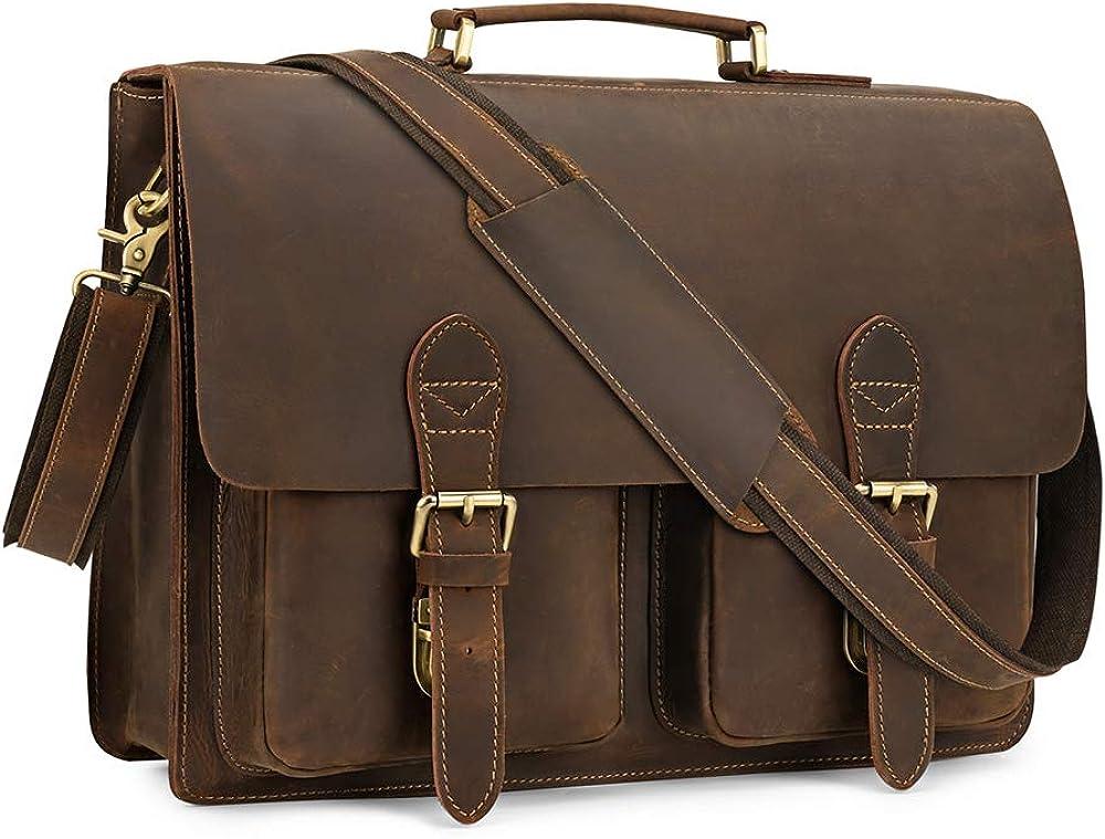 Kattee Handmade Genuine Leather Satchel Bag 15.6 Laptop Briefcase Messenger Bag for Men