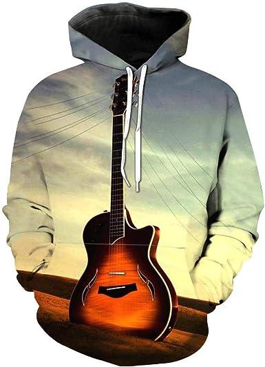 Sudadera con Capucha para Hombre Guitarra Anochecer Anime 3D ...