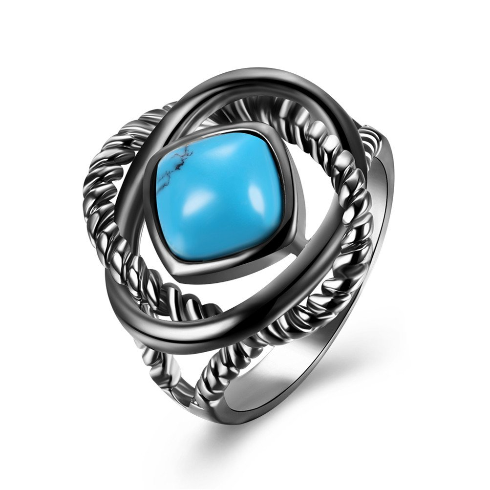Mrsrui 18K Gold Plated Celtic Knot Eternity Ring Simulated Turquoise Costume Jewelry