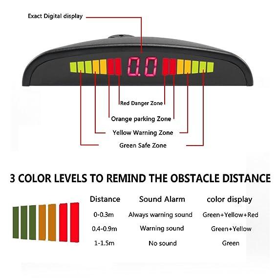 Amazon.com: Chylay Car Reverse Radar System 4 Parking Car Parking Sensor Kit LED Display Waterproof Sensors Warning Tone Display Monitor Kit (White): Car ...