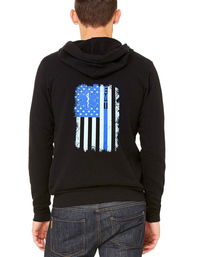 Interstate Apparel Men's Thin Blue Line EMT USA Flag Black Fleece Zipper Hoodie Large Black