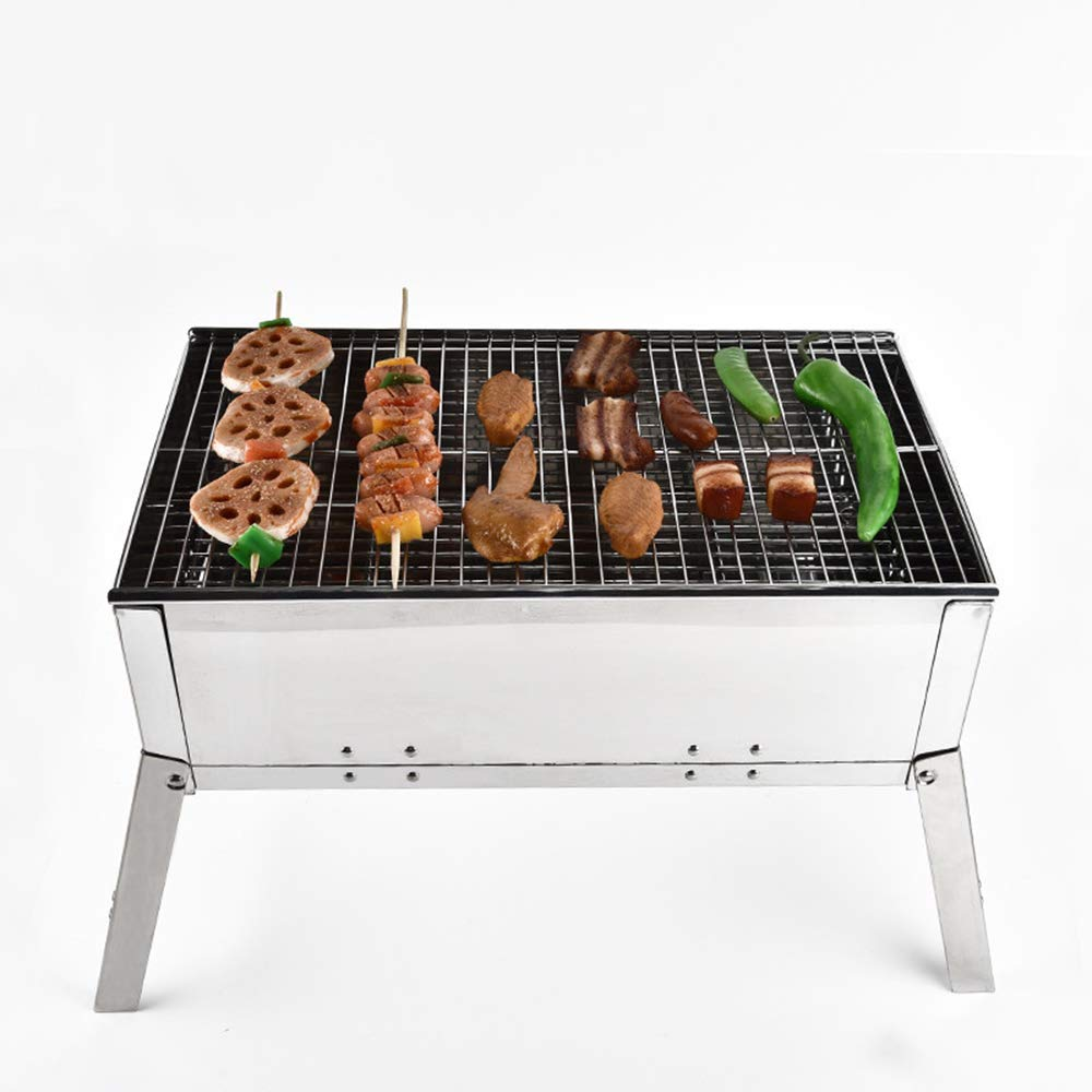 MCJL BBQ Barbecue Tools, Household Charcoal Grill Mini Barbecue 5 People Stainless Steel Folding Portable Ventilation Oven