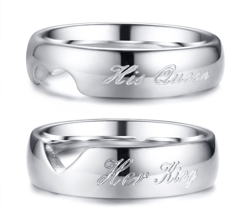 Mealguet Jewelry His Queen & Her King Stainless Steel Matching Heart Love Couples Wedding Engagement Ring Set for Him and Her,size 12/size 7
