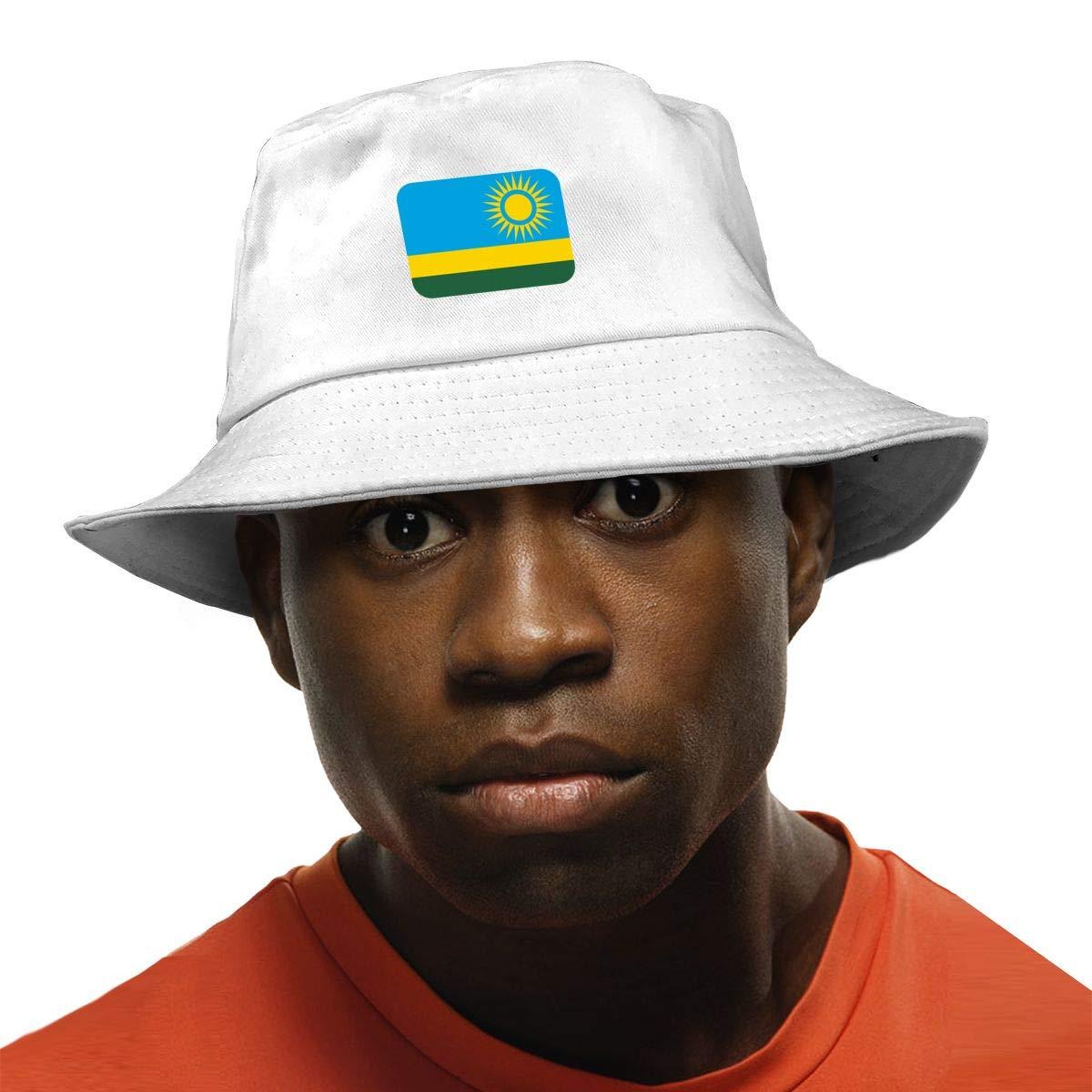 NDFGR Rwanda Unisex Cotton Packable Black Travel Bucket Hat Fishing Cap