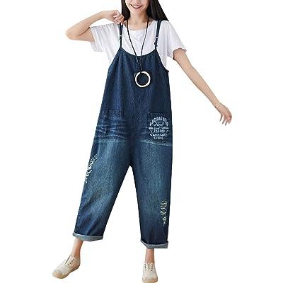 Bigassets Mujer Casual Monos de Pierna Ancha Mono Mezclilla Peto Style 7 Deep Blue: Ropa y accesorios