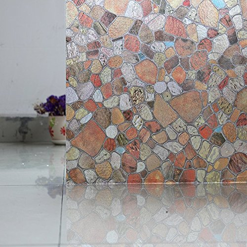 Bloss Colored Film Window Tint Pebble Stained Glass Window Film 1.5 Ft x 6.5 Ft - Tint Left Glass