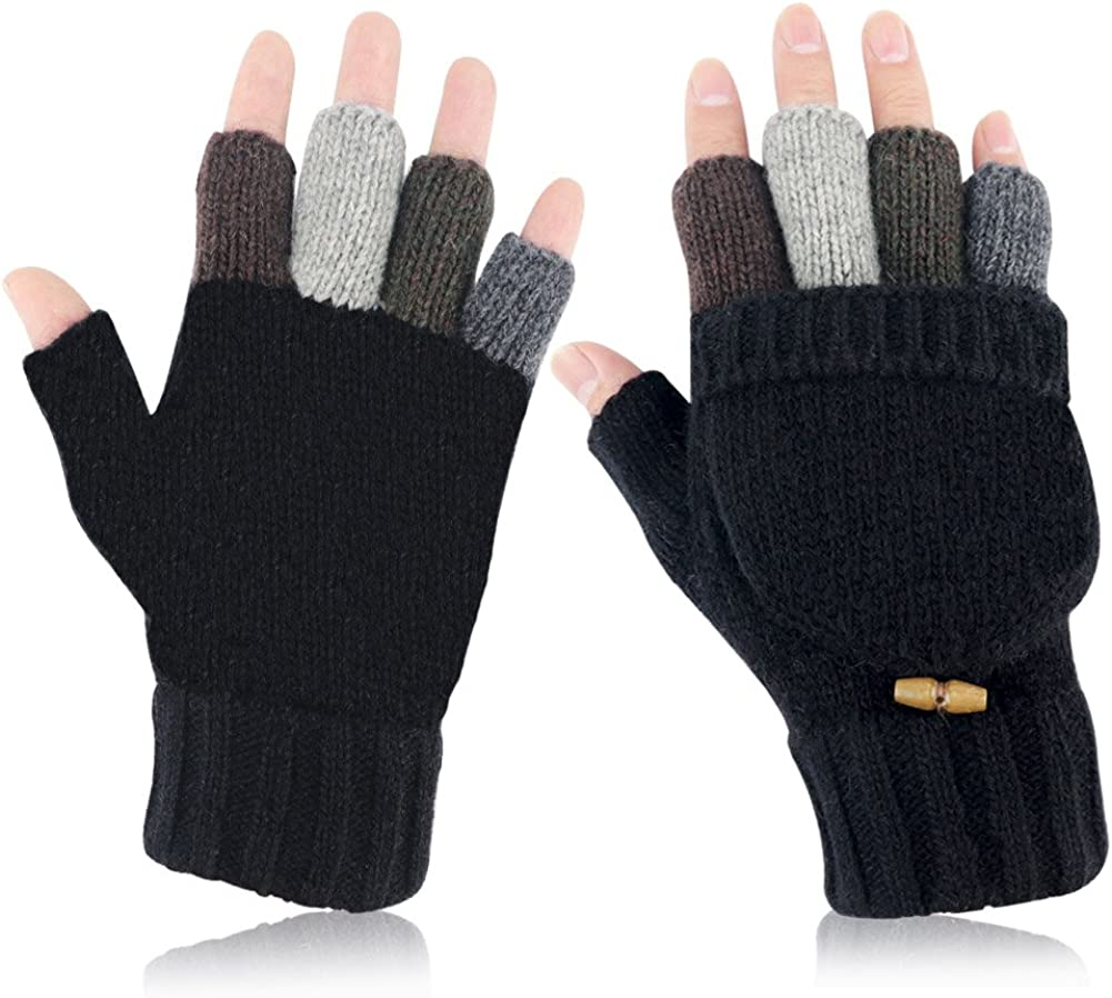 Akayboya Winter Warm Knitted Fingerless Gloves Convertible Wool Gloves with Mittens Cover at  Women's Clothing store