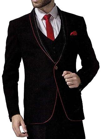 INMONARCH Hombres 6 Pc traje negro esmoquin padrino un botón ...