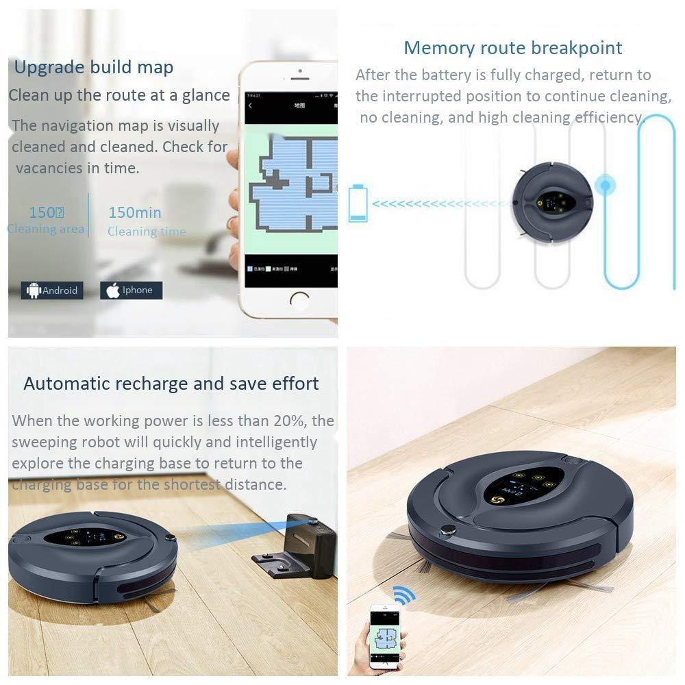 ZHX Aspirador de Robot, posicionamiento de Toda la casa, visualización del Mapa de la aplicación, Sensor Inteligente, Aviso de Voz, ...