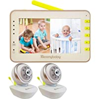 Video Baby Monitor 2 Cameras, Split Screen by Moonybaby, Pan Tilt Camera, 170 Degree Wide View Lens Included, 4.3 inches…