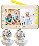 Moonybaby Split 55 Baby Monitor with 2 Cameras, Split Screen Video,