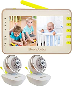 Moonybaby Split 55 Baby Monitor with 2 Cameras, Split Screen Video, Non-WiFi Pan Tilt Camera, Wide View Lens Included, 4.3 inches Large Monitor, Night Vision, Temperature, 2 Way Talk Back, Long Range