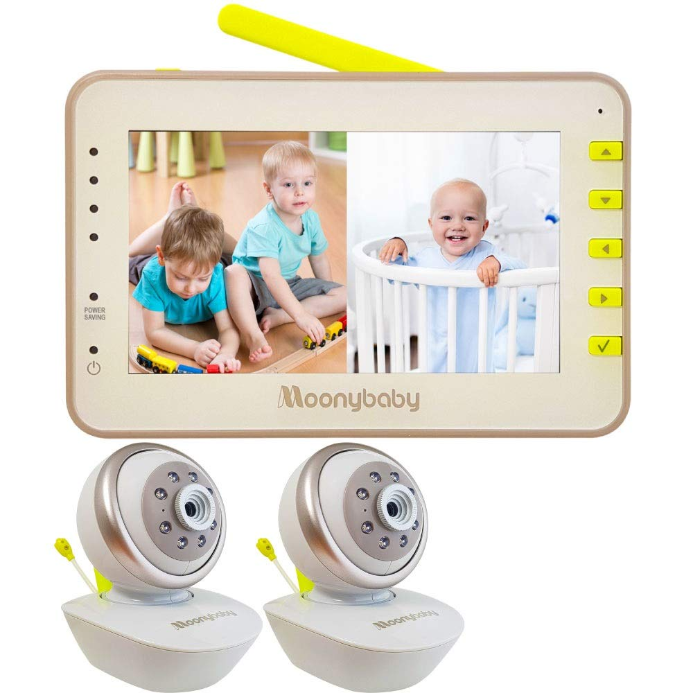 Video Baby Monitor 2 Cameras, Split Screen by Moonybaby, Pan Tilt Camera, 170 Degree Wide View Lens Included, 4.3 inches Large Monitor, Night Vision, Temperature, 2 Way Talk Back, Long Range by moonybaby