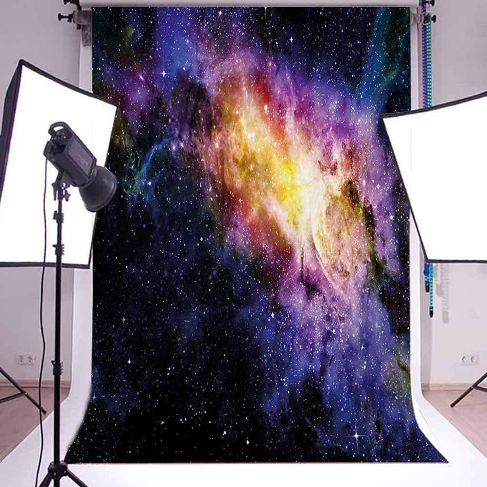 8x10 FT Backdrop Photographers,Happy Dog with Winter Clothes Vibrant Stripped with White Stars Moon Background for Kid Baby Boy Girl Artistic Portrait Photo Shoot Studio Props Video Drape Vinyl