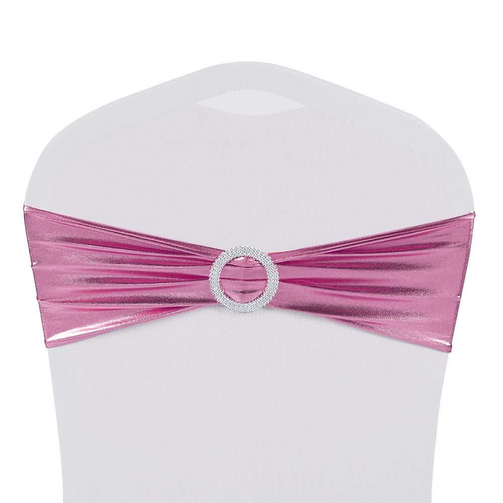 Chair Sash Spandex Stretch Shiny Foil 10-100PCS Wedding Party Buckle Bow Spandex