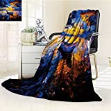 Luminous Microfiber Throw Blanket original oil painting on canvas sky sunset and boat on the water modern impress Glow In The Dark Constellation Blanket, Soft And Durable Polyester(60''x 50'')