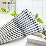 5 Pairs Printed Thread Stainless Steel Chopstick Chop Sticks