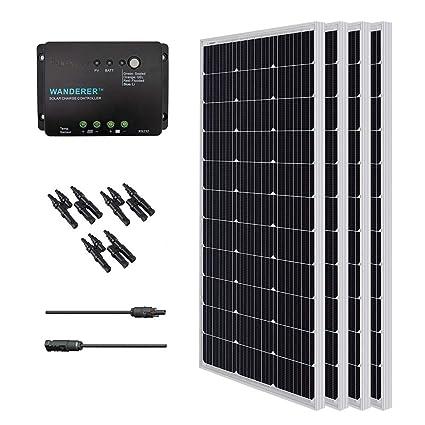 Renogy 400W Monocrystalline Bundle Solar Panel Kit with 4 packs 100W Solar  Panels, Wanderer Li 30A PWM Charge Controller, Renogy 9in MC4 Adaptor Kit