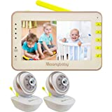 Moonybaby Split 55 Video Baby Monitor 2 Cameras, Split Screen, Non-WiFi Pan Tilt Camera, Wide View Lens Included, 4.3 inches