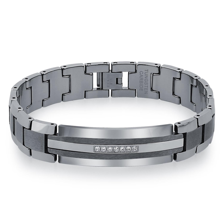 AX Jewelry Mens Diamond Tungsten Carbide ID Bracelet (0.20 carats, H-I I2) 7.5-inch) TGB30001E-75