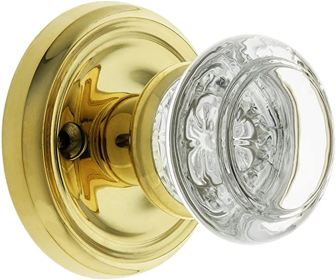 Classic Rosette Set With Fluted Brass Knobs Passage In Polished Brass Antique Reproduction Door Knobs.