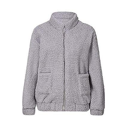 ZHRUI Abrigo Mullido de Bolsillo para Mujer Abrigo Mullido Abrigo de Lana Ropa de Abrigo Abrigo