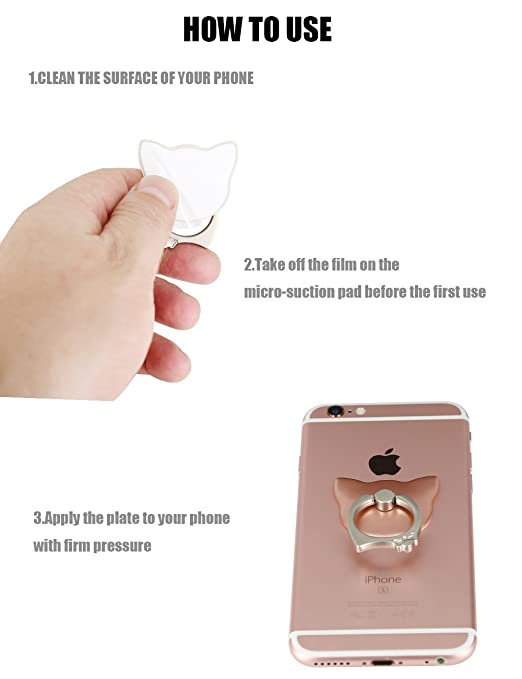 Amazon.com: iPhone 7 Plus Gripper, Universal Mini Kickstand, iMangoo Strong Adhesive Stand 360 Rotation Metal Ring Foldable Finger Grip Cell Phone Sticker ...