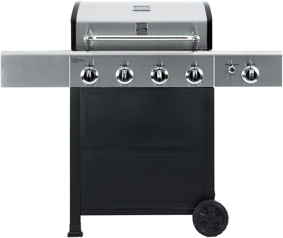 Kenmore PG-40406SOL Outdoor Patio 4 Burner Gas BBQ Propane Grill With Side Burner in , Black Stainless Steel