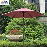 Cheap Dienspeak Updated Version 7.5 ft. Round Outdoor Market Patio Beach Umbrella with Push Button Tilt and Crank Lift (Red(w/Cover))