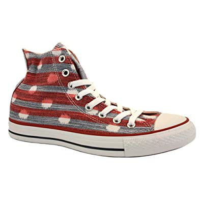 Converse Chuck Taylor Stripes Hi 537070C Womens Textile Laced Trainers Red Navy - 4