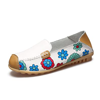 d993ca99536 KEESKY Women s Floral Print Driving Loafers Leather Slip-on Flat Casual  Shoes (7 B