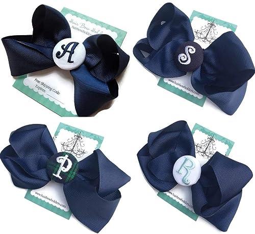 Light Blue Monogram Infant Hair Bow